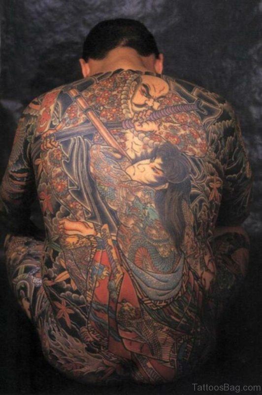 Japanese Warrior Tattoo On Full Back