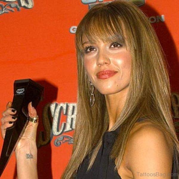 Jessica Alba Arabic Wrist Tattoo