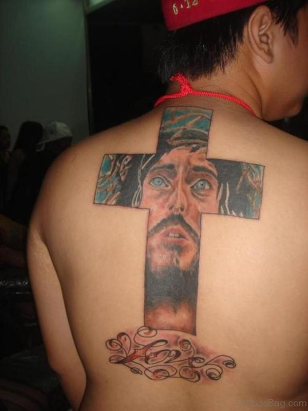 Jesus Face And Cross Tattoo