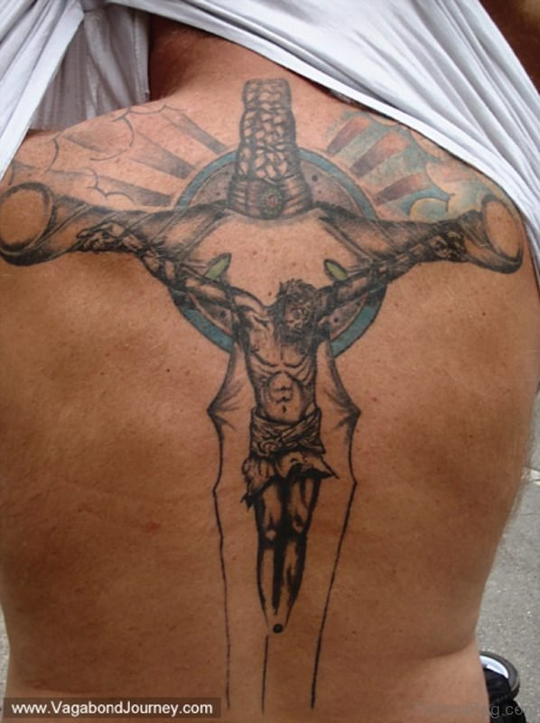 Jesus And Cross Tattoo On Back