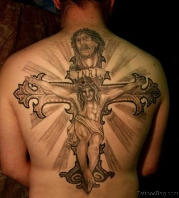 Jesus Head And Cross Tattoo  On Back