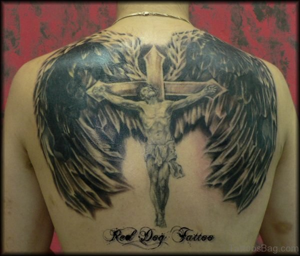 Jesus On Cross With Wings Tattoo