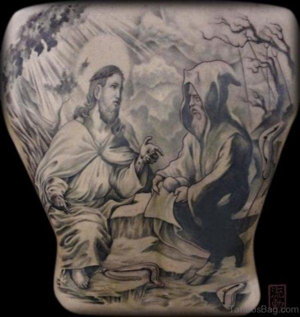 Jesus Tattoo On  Full Back