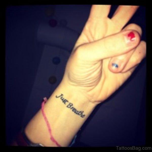 Just Breathe Word Tattoo
