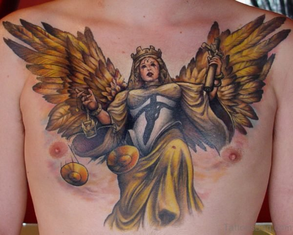 Justice Angel Tattoo On Chest