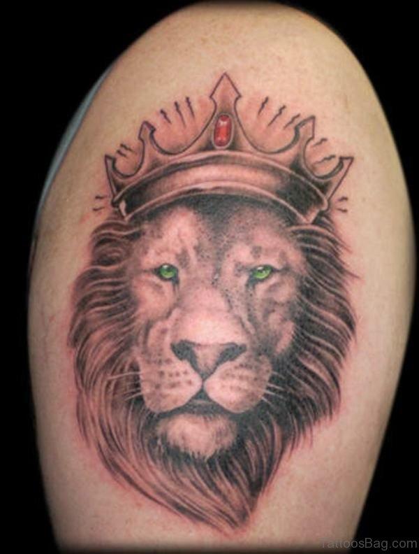 King Lion Shoulder Tattoo