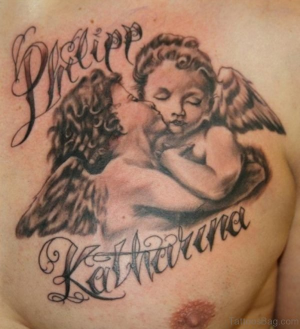 Kissing Baby Angels Tattoo On Man Chest
