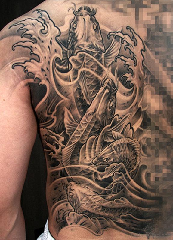 Nice Koi Fish Tattoo Design On Back