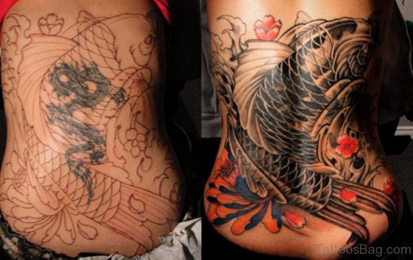 Koi Fish Tattoo On Lower Back