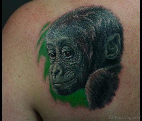 Lovely Monkey Shoulder Tattoo