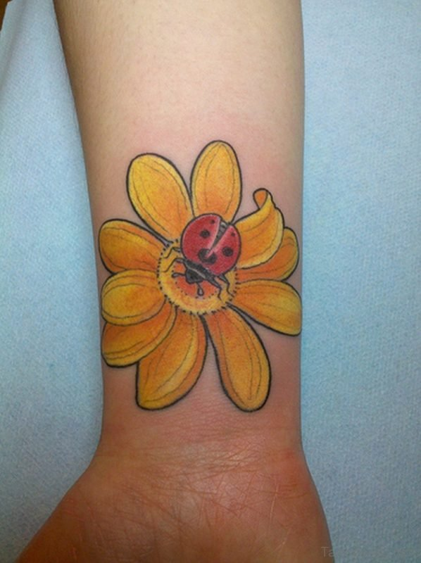 Lady Bug And  Yellow Flower Tattoo