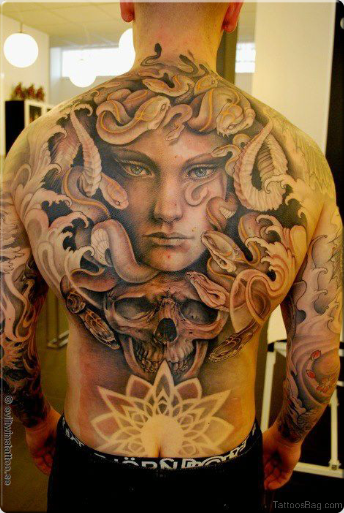 Lady Face And Snake Tattoo