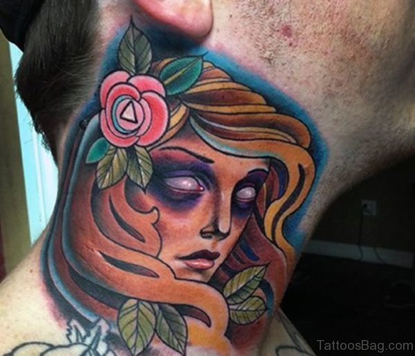 Lady With Rose Neck Tattoo