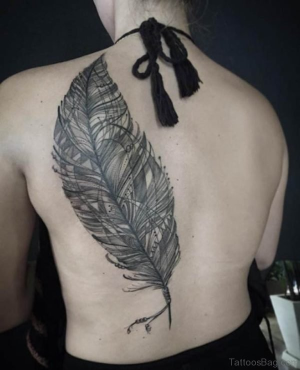Large Back Feather Tattoo