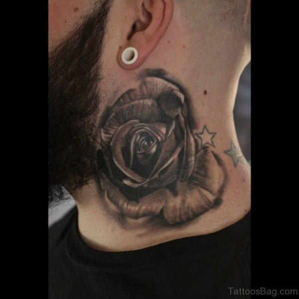 Large Black Rose Tattoo On Side Neck