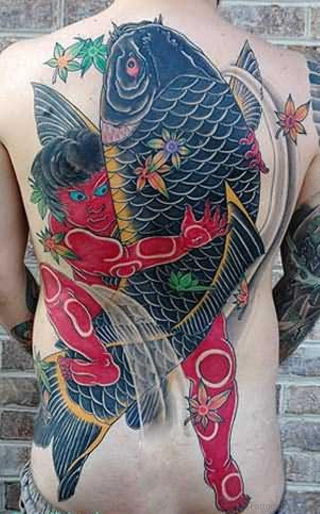 50 graceful koi fish tattoos for back for Large coy fish