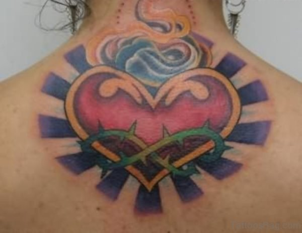 Large Heart Neck Tattoo