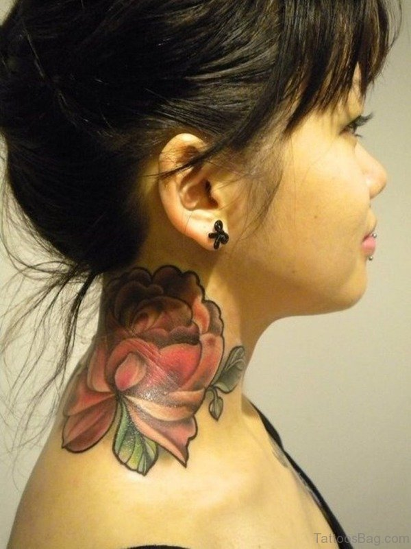 Large Red Rose Tattoo On Neck
