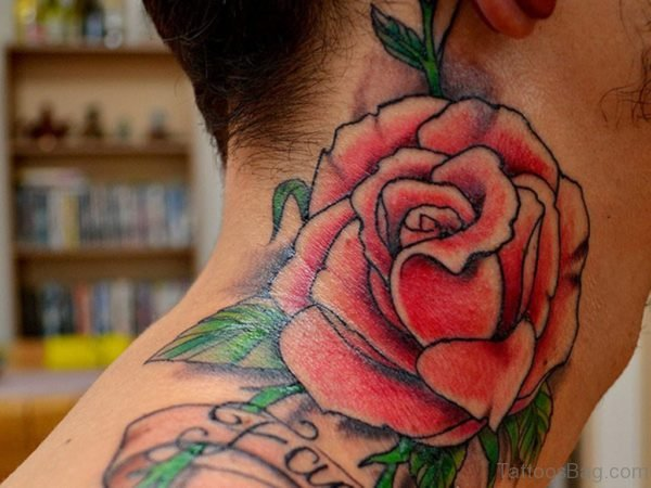 Large Rose Tattoo On Neck