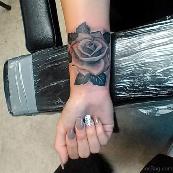 Large Rose Tattoo On Wrist