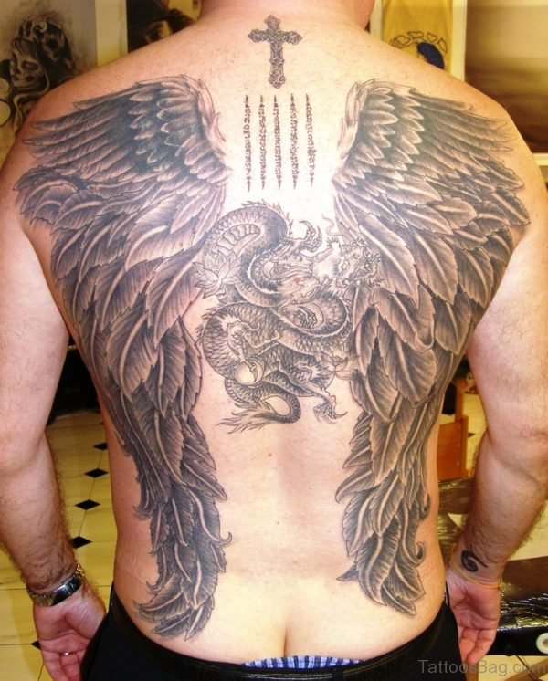 Large Wings And Cross Tattoo