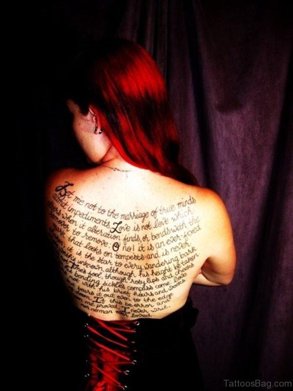 Large Wording Tattoo On Back