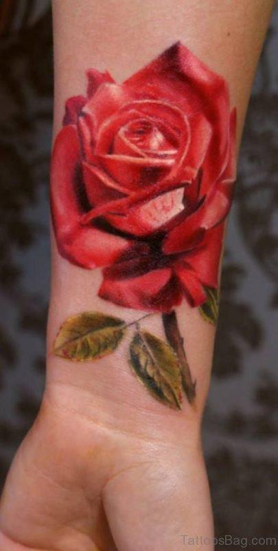 Large Wrist Tattoo On Rose
