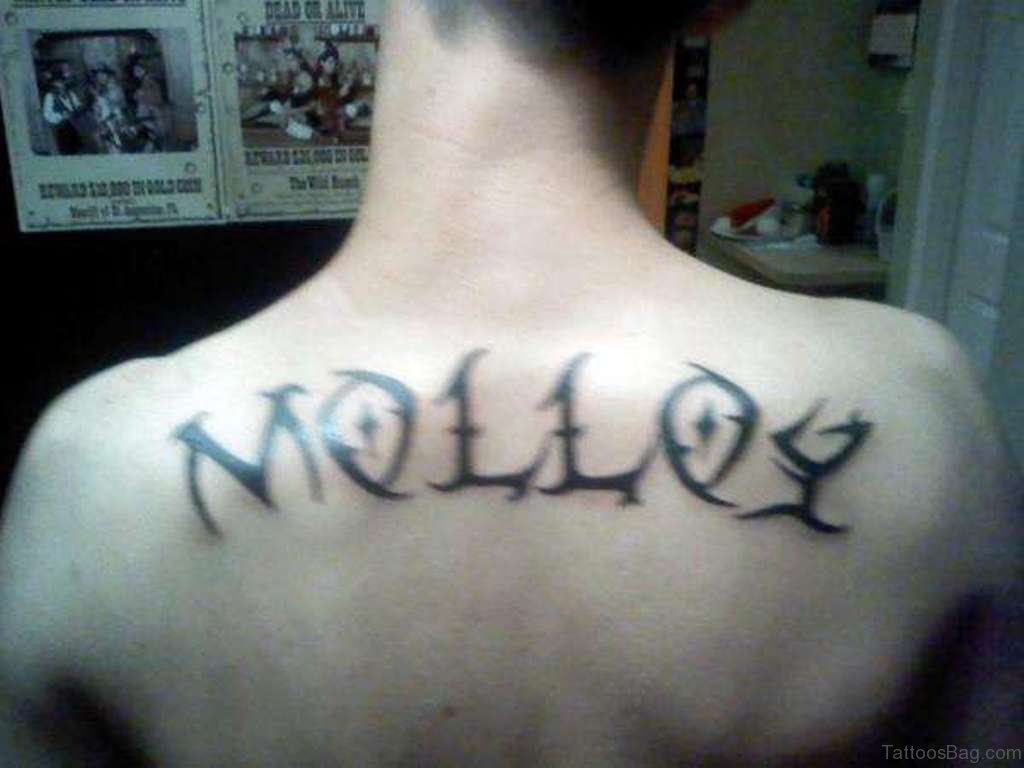 66 cool lettering tattoos for back for Last name tattoos on back