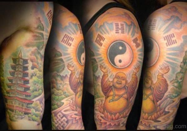 Laughing Buddha Yin Yang Tattoo