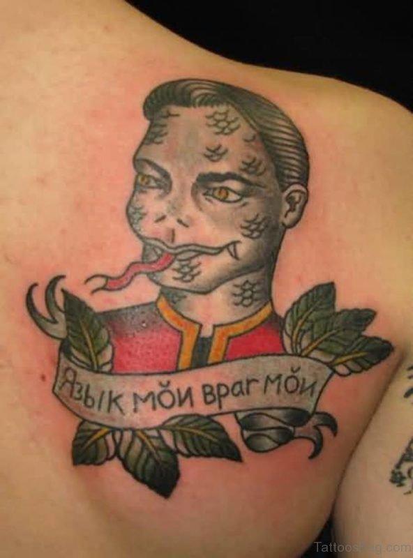 Leaf And Banner Tattoo