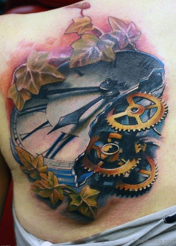 Leaf And Clock Tattoo On Back