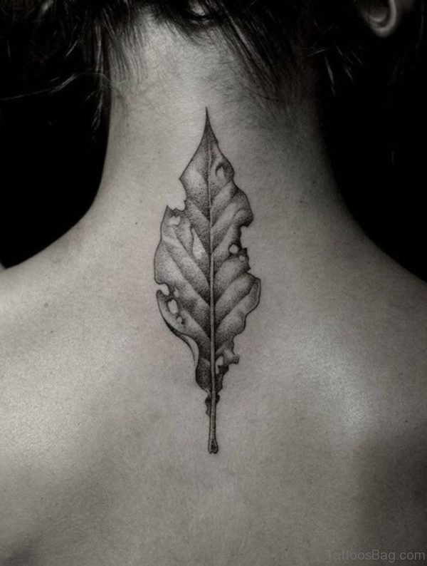 Leaf Tattoo Design On Back