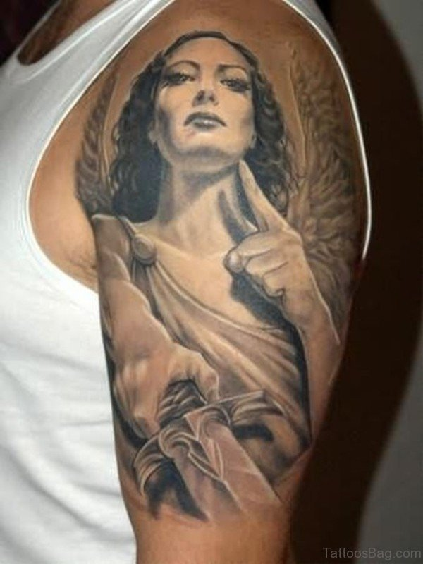Left Shoulder Tattoo Of Angel