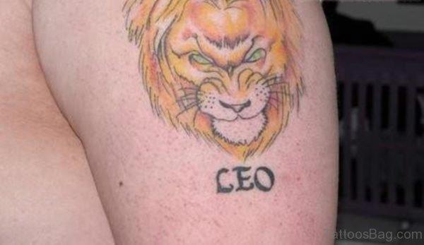 Leo Zodiac Shoulder Tattoo