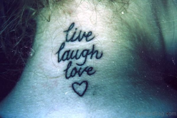 Lettering Heart Neck Tattoo