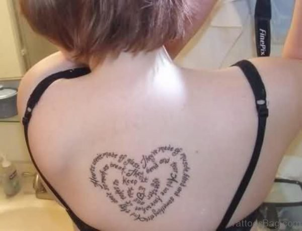 Lettering Heart Tattoo