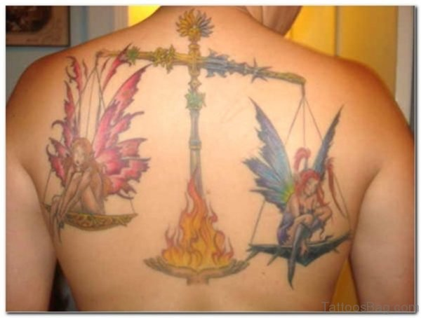 Libra Zodiac Sign Tattoo On Back