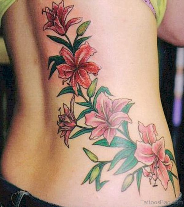 Lilly Flower Tattoo On Back