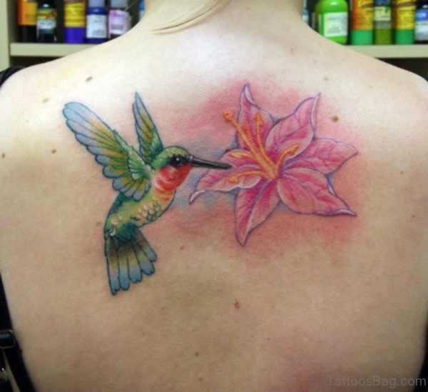 Lily Flower And Hummingbird Tattoo