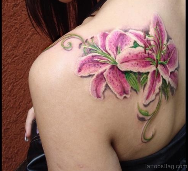 Lily Flower Tattoo On Back Shoulder