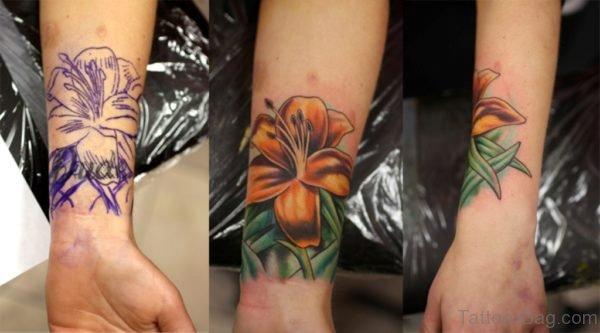 Lily Flower Tattoo On Wrist