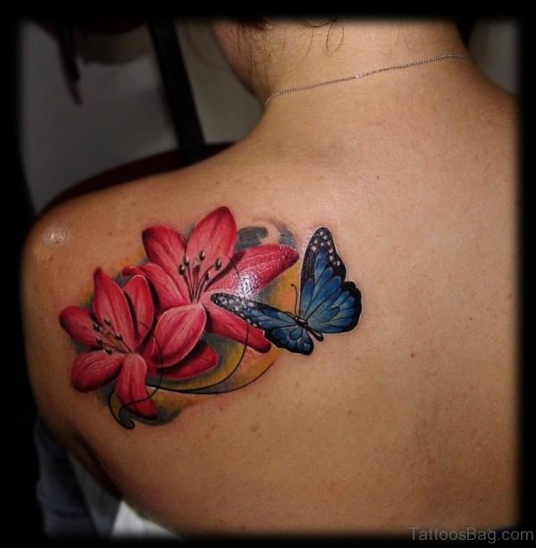 Butterfly Lily Flower Tattoo