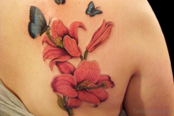 Lily On Back Shoulder Tattoo