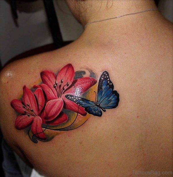 Lily With Butterfly Tattoo