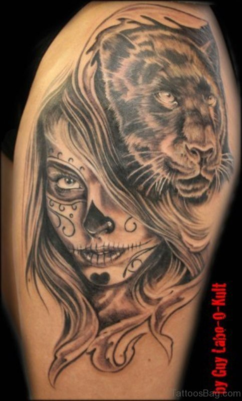 Lion And Mexican Skull Tattoo