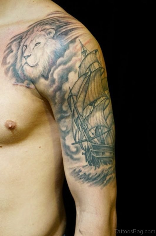 Lion And Ship Tattoo