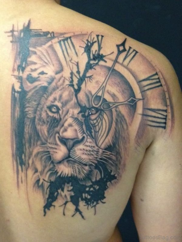 Lion Face And Clock Tattoo