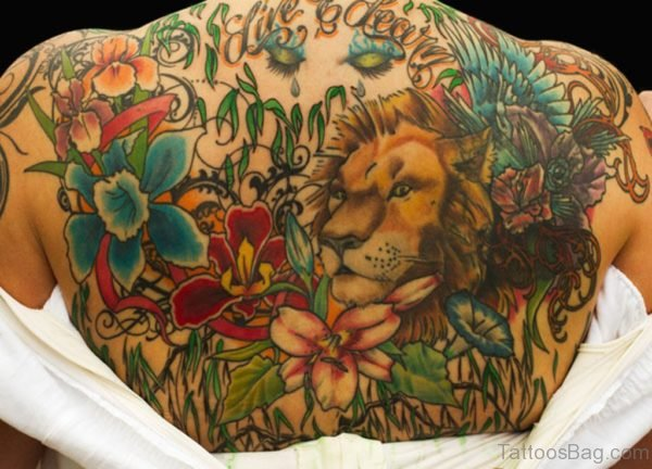 Lion Face And Flowers Tattoo