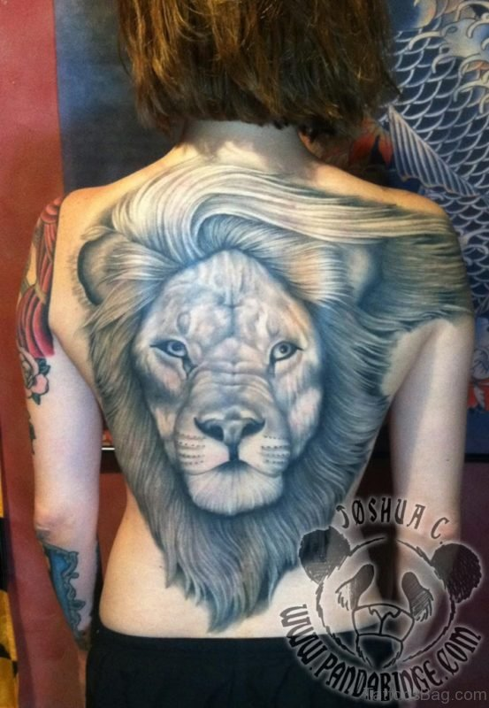 Lion Face Tattoo On Back