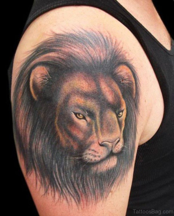 Lion Face Tattoo On Right Shoulder